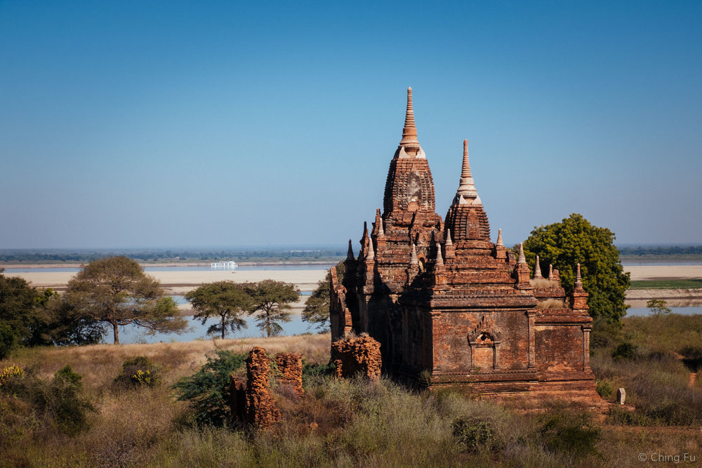 Bagan temple by the Irrawaddy River.