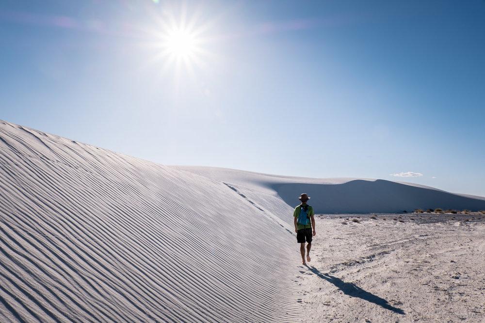 Jerud hiking Alkali Flat trail.