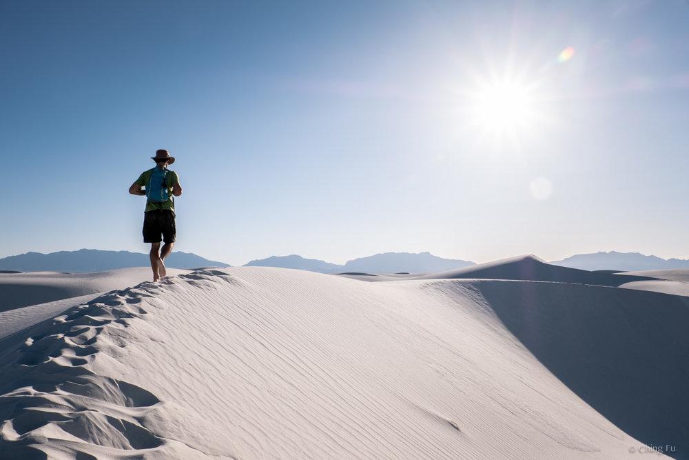 Jerud hiking on Alkali Flat trail.
