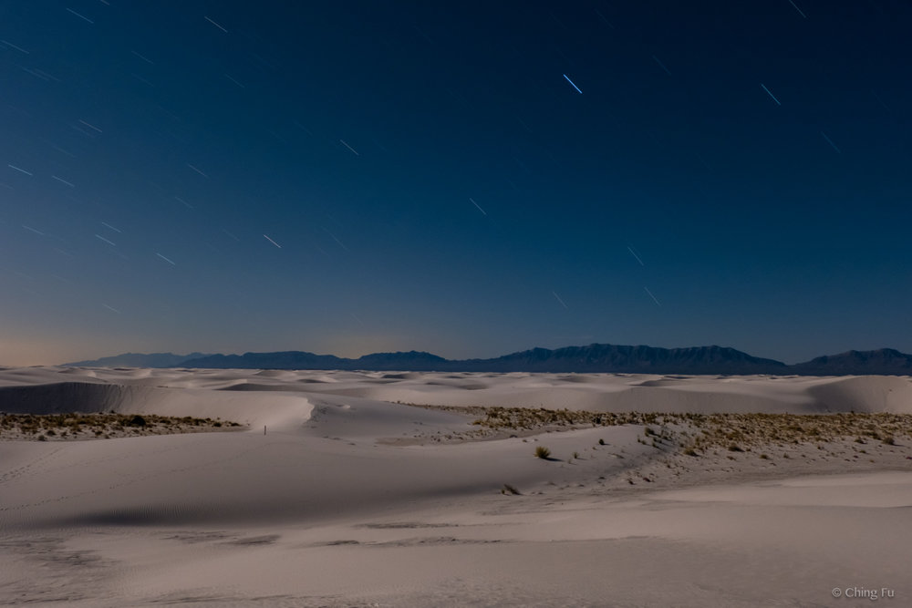 View of White Sands National Monument at night.