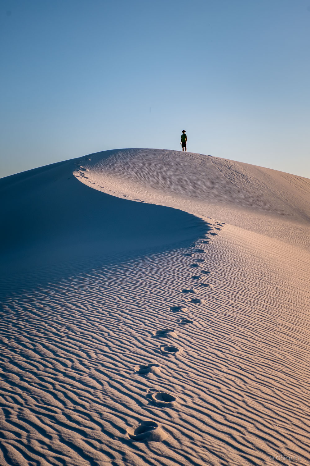 Jerud hiking at White Sands National Monument.