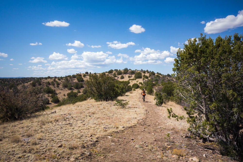 Jerud mountain biking on the trails at Fort Stanton National Conservation Area.