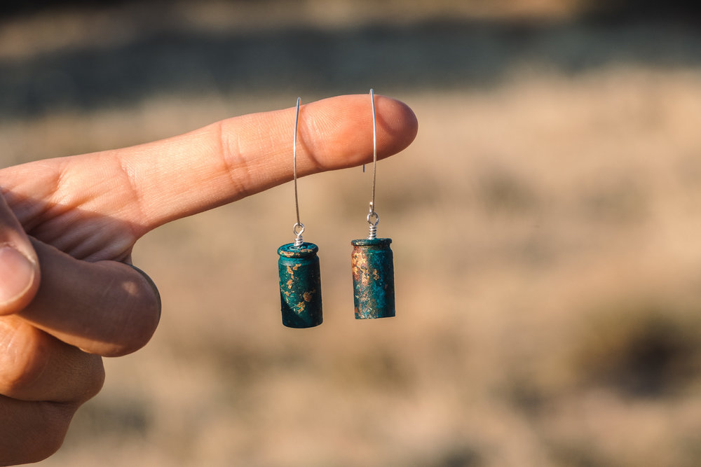 Patina bullet casing earrings - Viridian Range