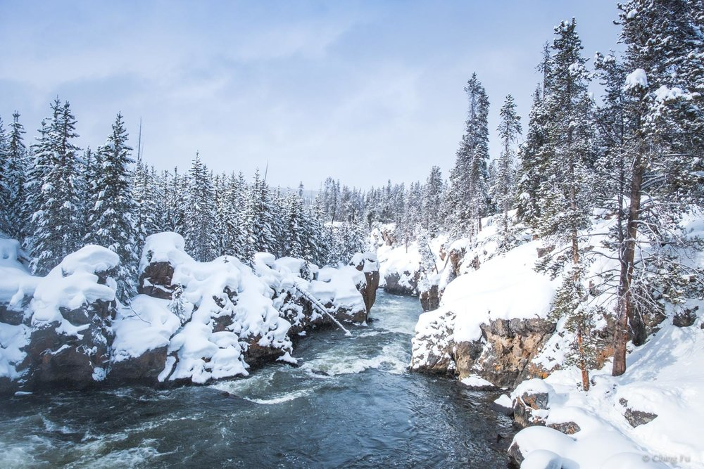 Firehole River at Yellowstone National Park in the winter.