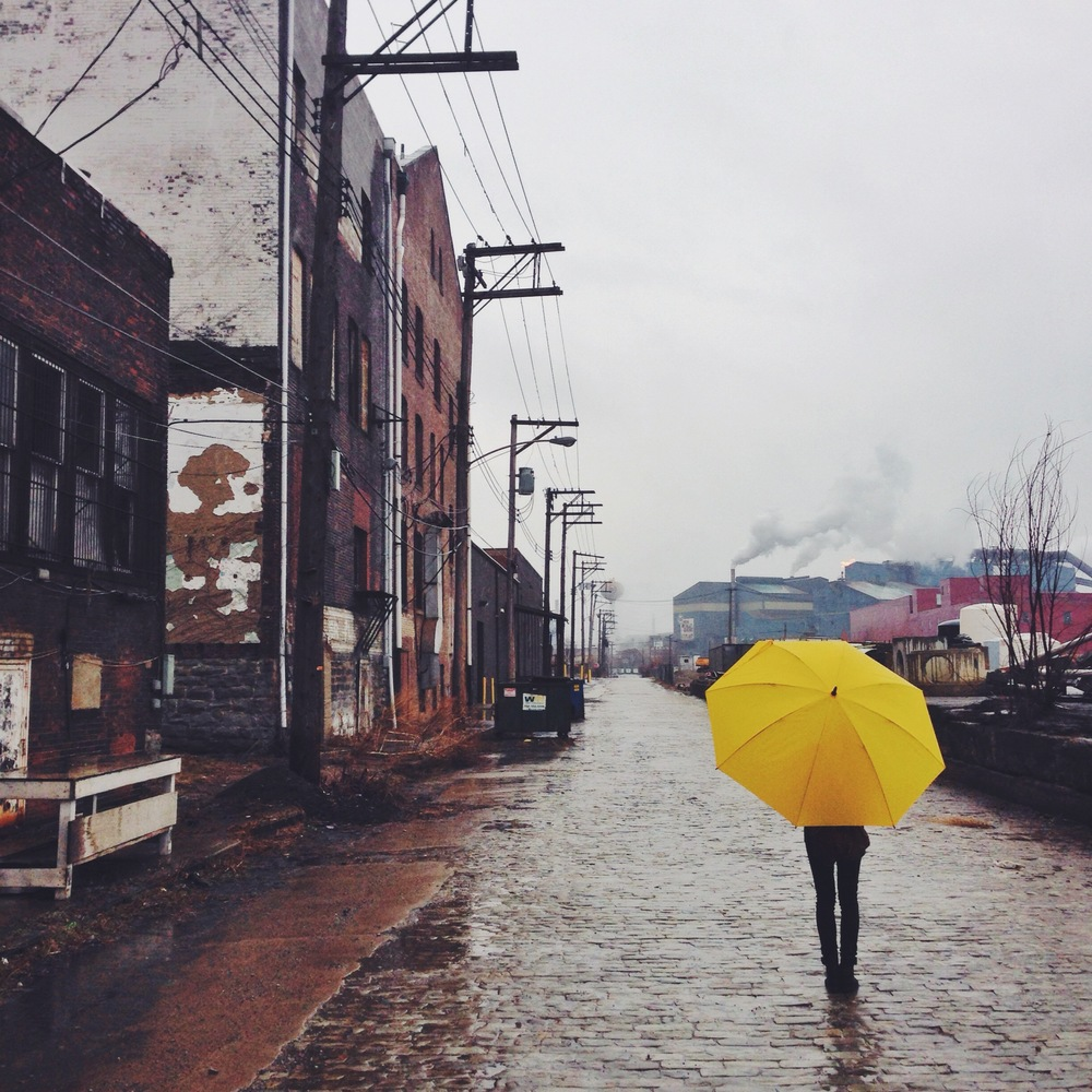 Kristen and her yellow umbrella at the rainy Braddock Instameet. Braddock is an awesome little place that everyone in Pittsburgh should check out