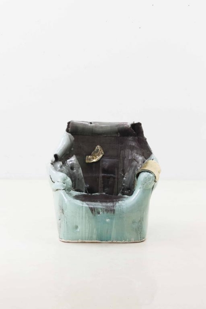 Lee Hun Chung  Bada abstraction 140929-02 Glazed Ceramic in traditional grayish-blue-powdered celadon 39.4h x 41.3w x 37.8d inches (100.08h x 104.9w x 96.01d cm)