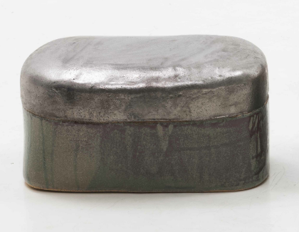 Lee Hun Chung Bada assemblage 140929-07 Glazed Ceramic in traditional grayish-blue-powdered celadon, Gold leaf 11h x 20.9w x 14.2d in (27.94h x 53.09w x 36.07d cm)
