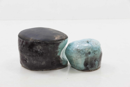 Lee Hun Chung Bada assemblage 140929-04-01,02, 2014 Glazed Ceramic in traditional grayish-blue- powdered celadon 17.7h x 29.5w x 27.6d in (44.96h x 74.93w x 70.1d cm)