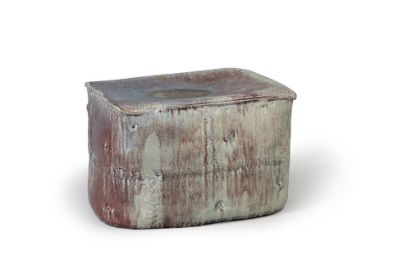 L  ee Hun Chung    Purple Grey Stool, 2010     Glazed Ceramic in traditional grayish-blue-powdered celadon     16.9h x 25.6w x 17.7d in   (42.93h x 65.02w x 44.96d cm)