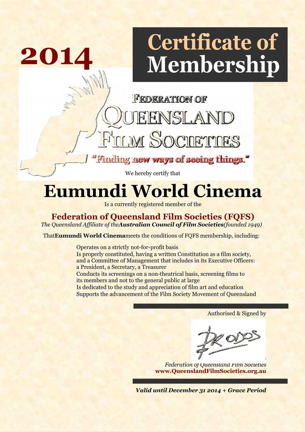 Eumundi World Cinema - FQFS 2014 Membership Certificate.jpg
