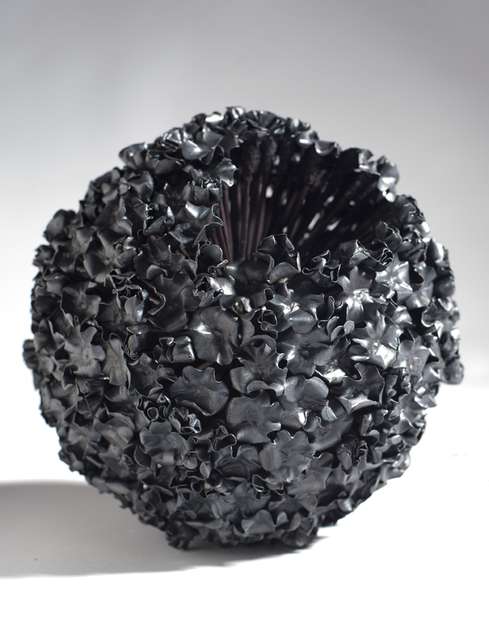 "Bud Ball #3, 2014, hammered, bent, welded 12"" spikes"