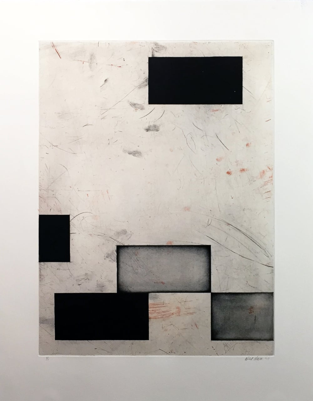 Breaking the Grid I, 2013, aquatint, drypoint, and abrasion,  25 x 20 inches