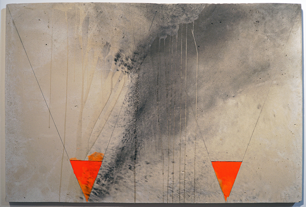 Cones, 2015, paint and graphite on concrete, 36 x 24 inches