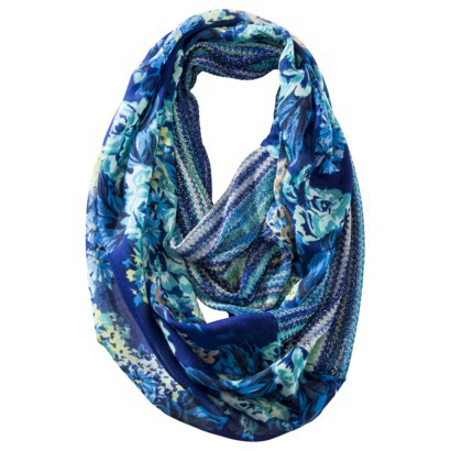 Mossimo Supply Co. Floral/Stripe Infinity Scarf - Blue-$14.99