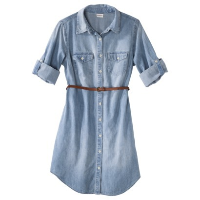 Merona® Women's Denim Belted Shirt Dress - Blue-$27.99
