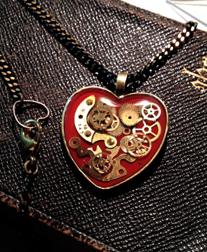 Red Mechanical Heart Pendant