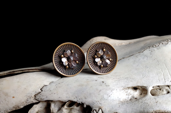 Unique mixed metal buttons are made using separate metal pieces that fit together in layers. Earring posts are sterling sliver.