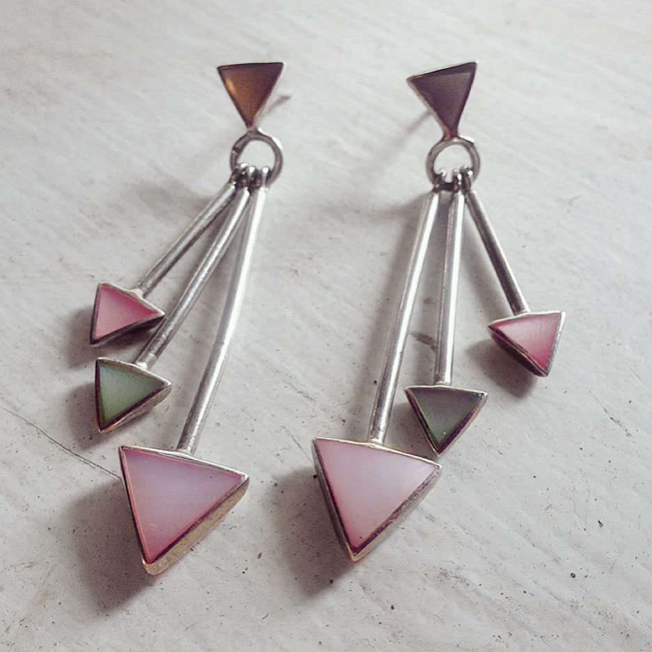Sterling  sliver earrings feature multiple triangles in a perfect spring palette!