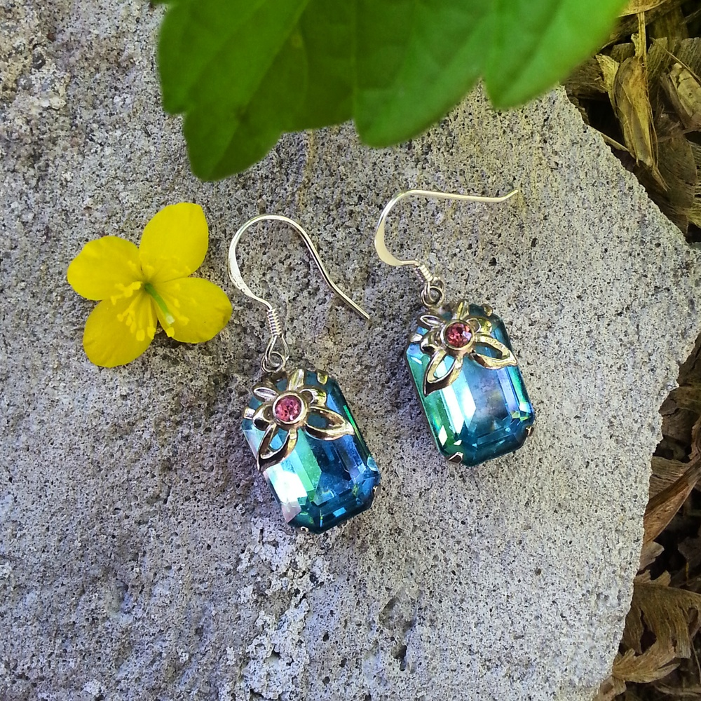 Pretty Rhinestone clip ons that I reincarnated into one of a kind earrings on sterling silver posts!