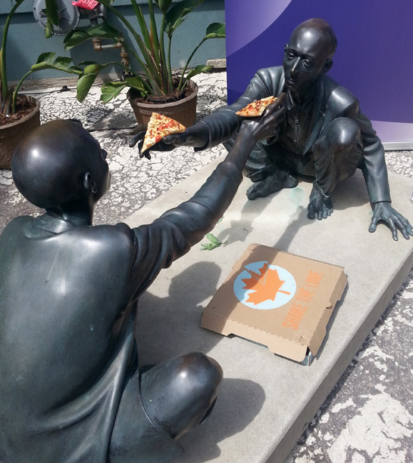 This statue outside Edward day has incredibly versatile hand gestures! They held pizza for the Pizza Underground show,  beers for the Put Out Productions event & Fleshlights for the comedy party.