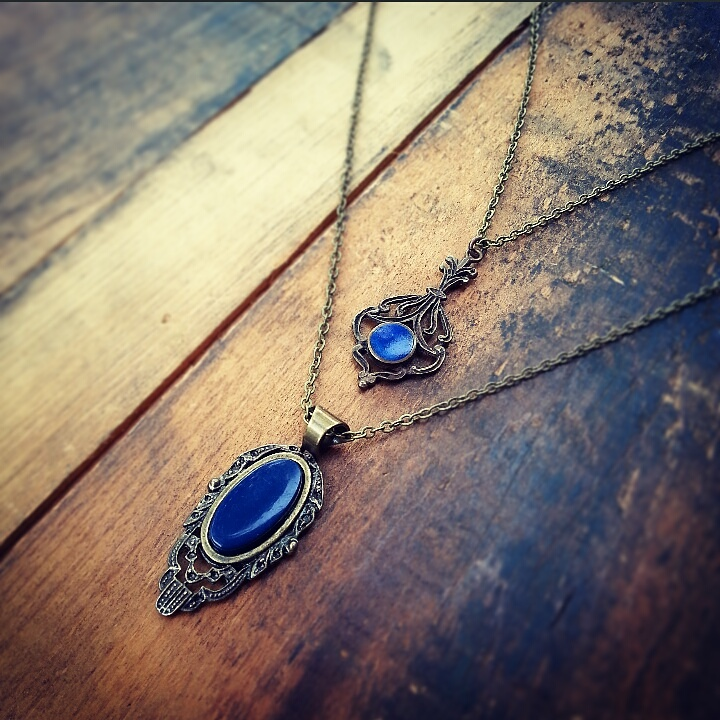Lovely lapis coloured recycled deco style pieces make lovely unique pendants!