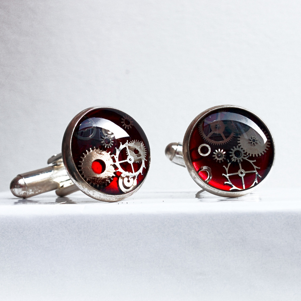 Resin watch part cufflinks are available from my online store, Arts Market and Made You Look Jewellery.