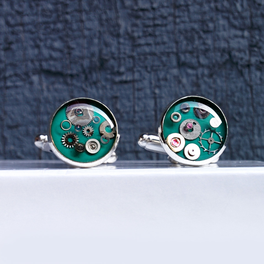 Detail of teal 2.5cm multi layer watch part cufflinks