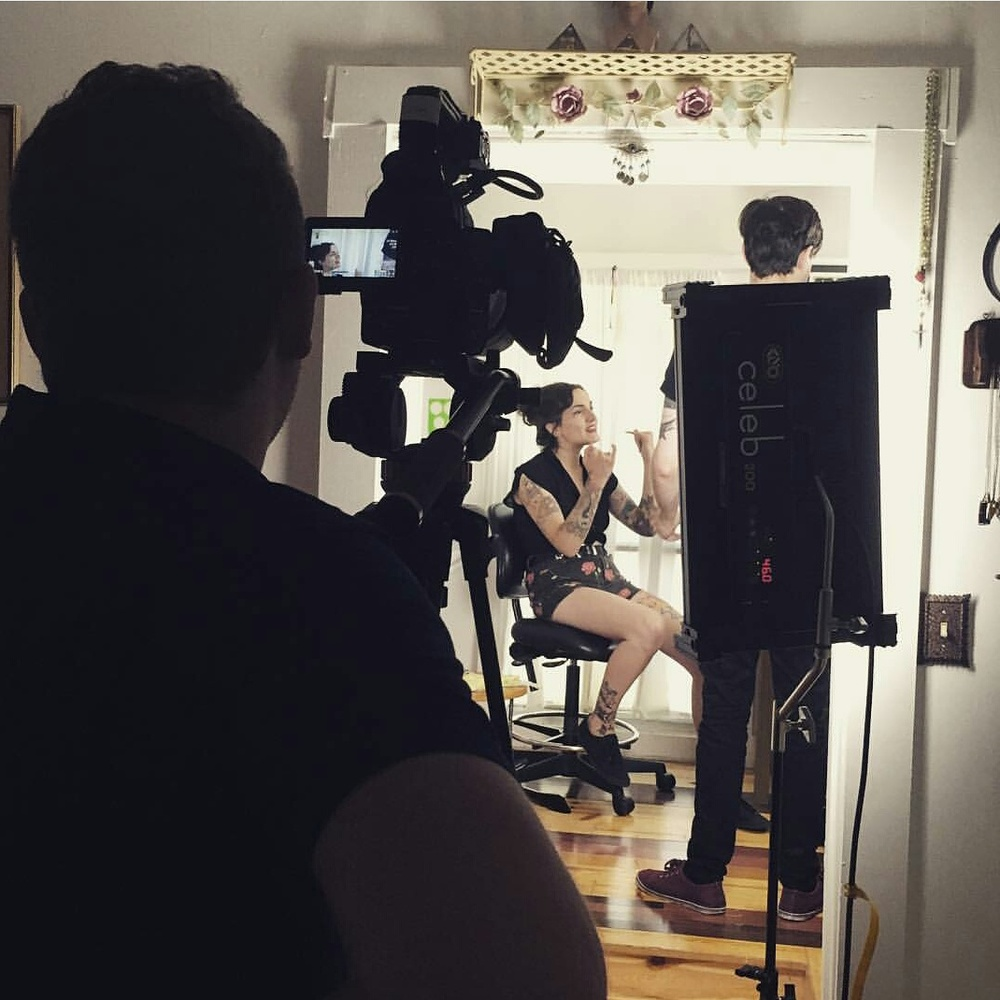 Filming in the studio on one of the hottest days so far this summer!  photo by Sydney Urbanek