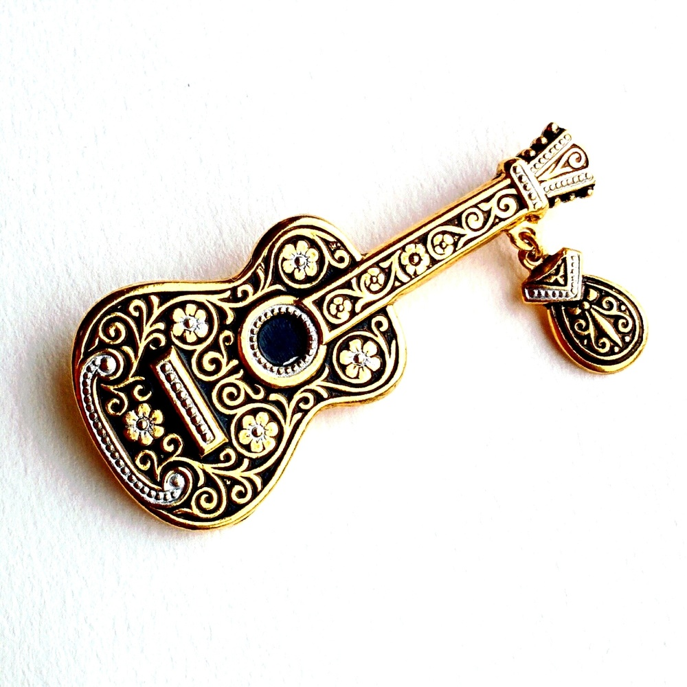 Vintage Damascene embossed guitar pendant