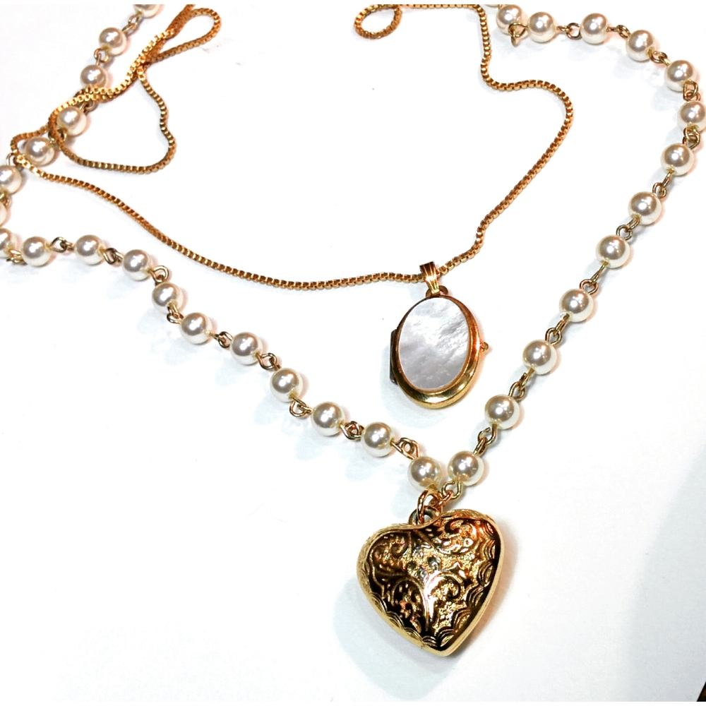 vintage locket and faux pearl chain with embossed double sided heart pendant