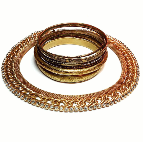 Embossed brass bangles and this great vintage statement necklace.