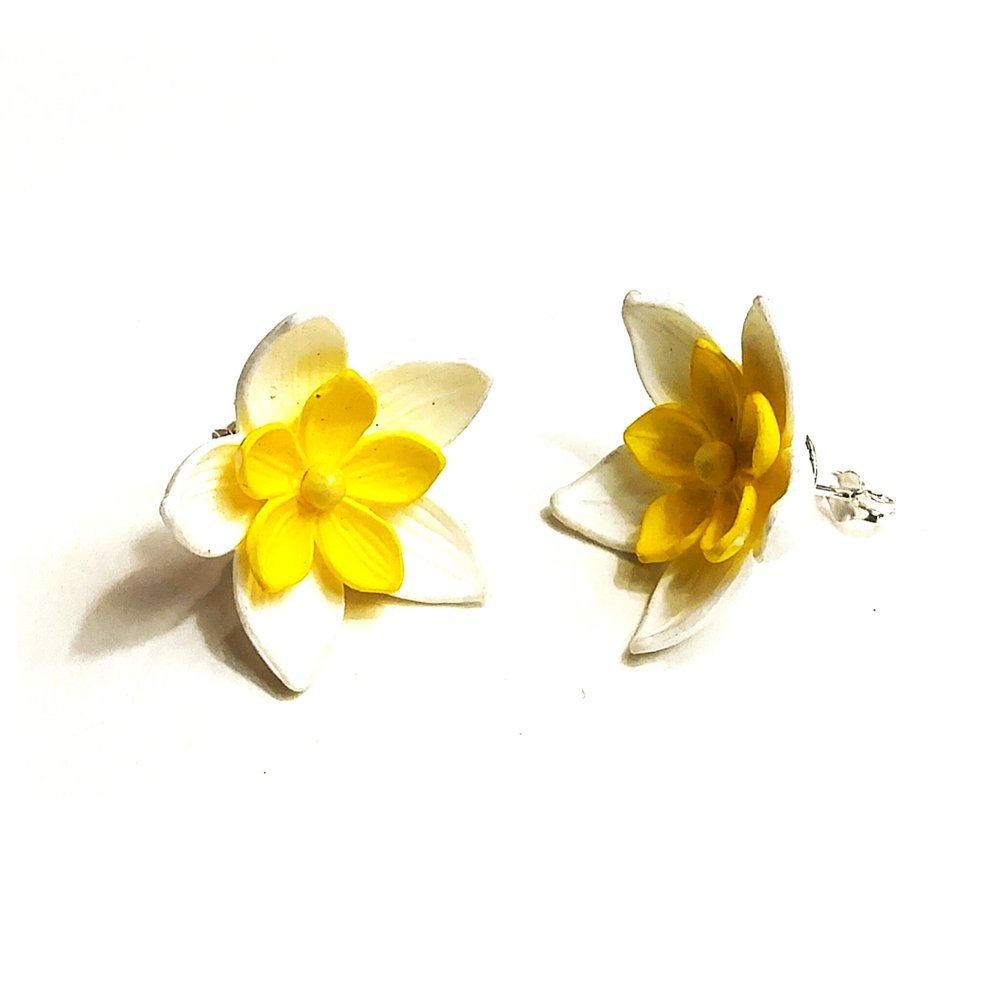 Beautiful celluloid earrings, converted from screwback fasteners to sterling silver posts