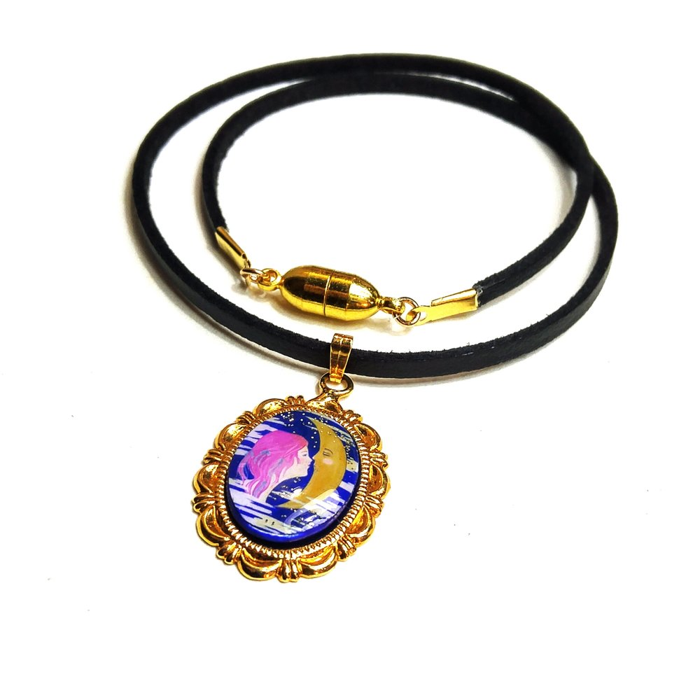 One of a kind Moon Lustre Pendant on thin leather choker length cord with magnetic clasp!