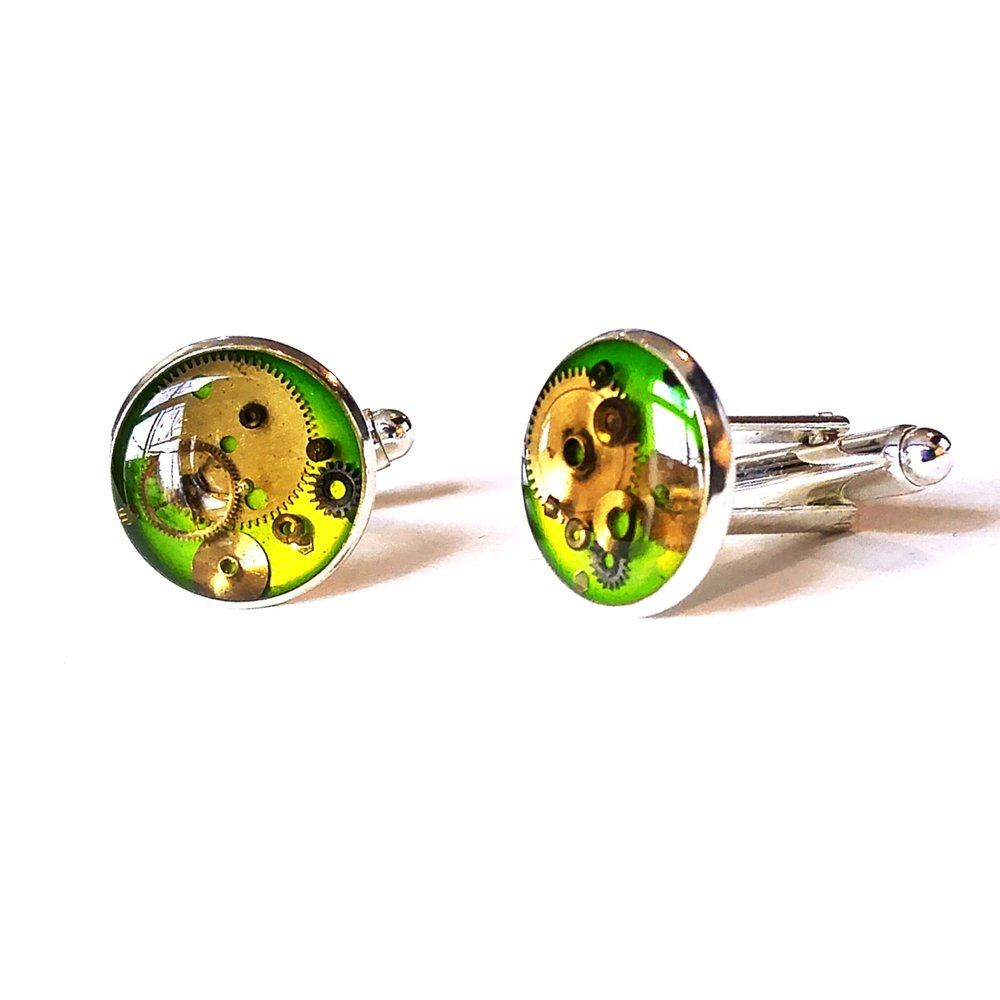 Lime green watch part cufflinks