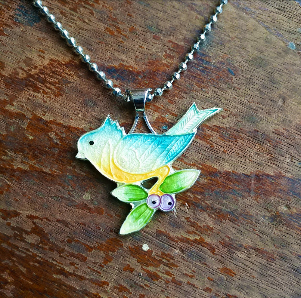 Vintage enamel bird brooch, repurposed into necklace