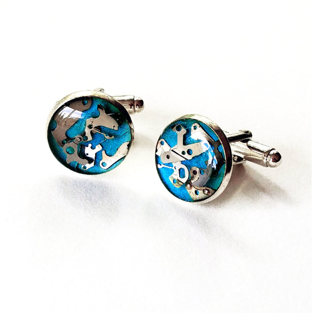Aminda Wood Blue Resin Watch Part Cufflink .jpg