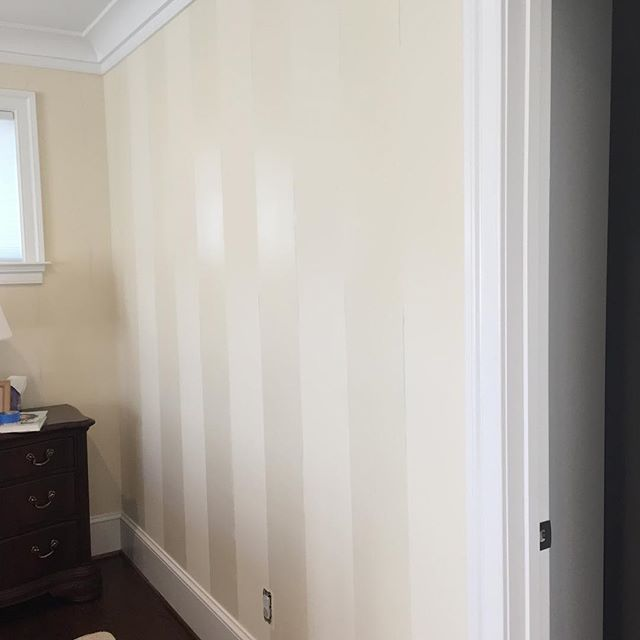 Love installing residential finishes- these tone on tone flat v high gloss stripes with a slight shadow finish. Days when I can listen to Van and paint all day are few and far between. #happyclient #fauxfinish #paint