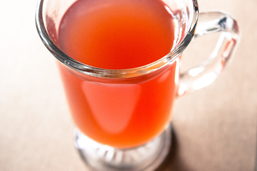 Hot cider with cranberry chutney infused vodka