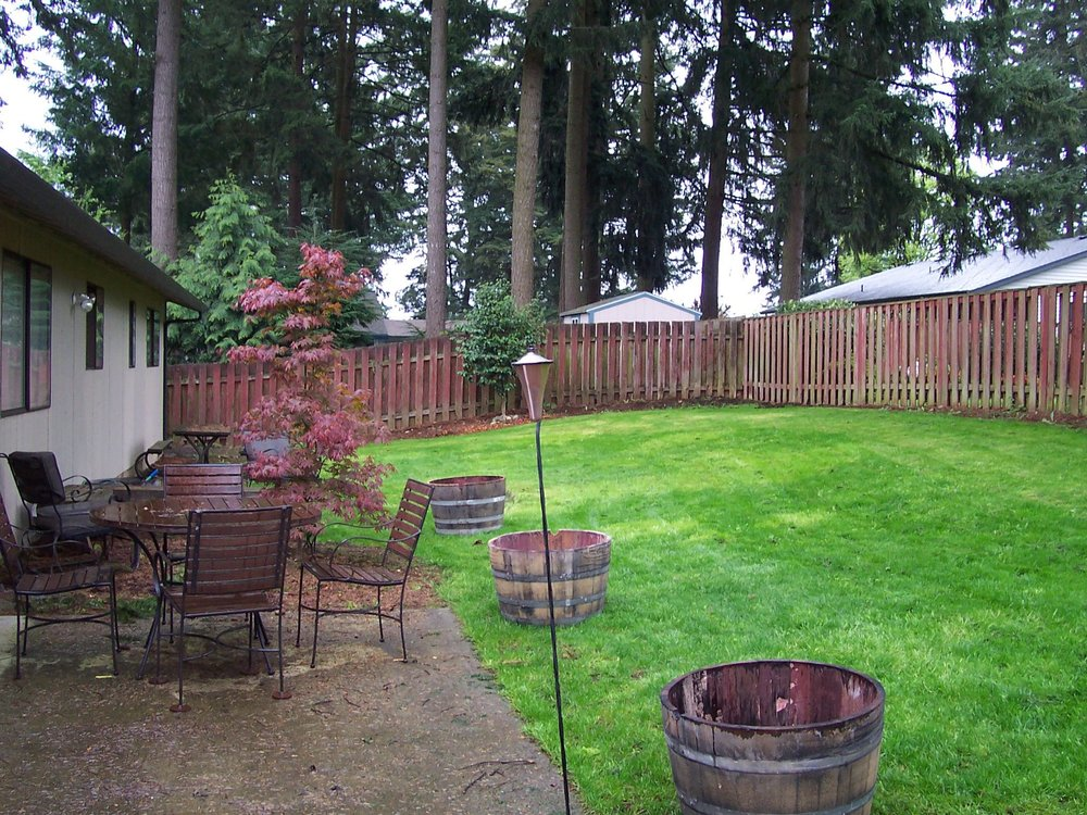 I chose our simple ranch house for the backyard surrounded by a stand of Douglas Fir trees. Lovely.