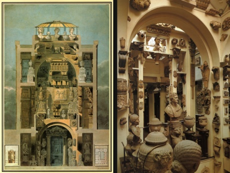 Sectional Painting of John Soane's Home (by John Soane) and a photo of the actual space