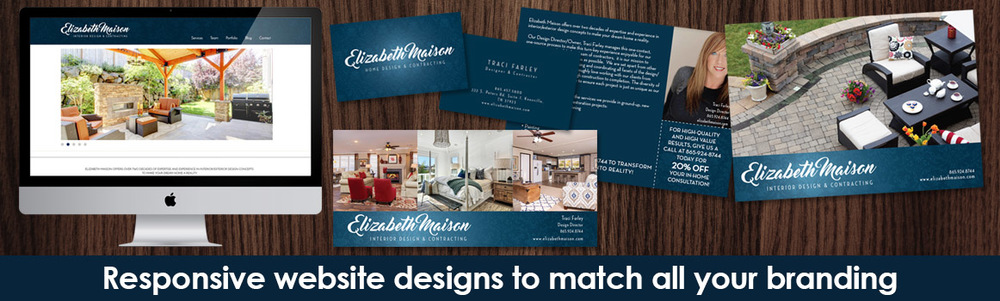 Branding, Identity, Logo, Mailers and Website Design done by  m+j design  for  Elizabeth Maison Interior Design