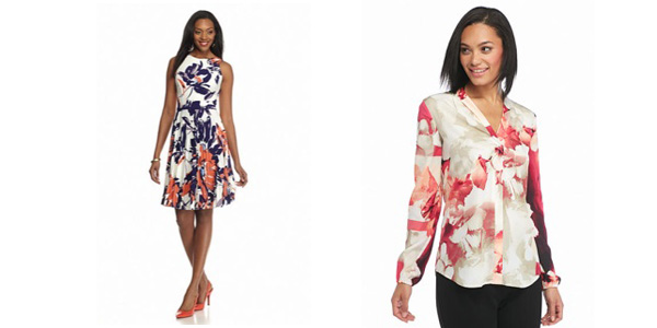 Calvin Klein Split Neck Pleat Blouse and Maggy London Floral Printed Pleated Jersey Dress