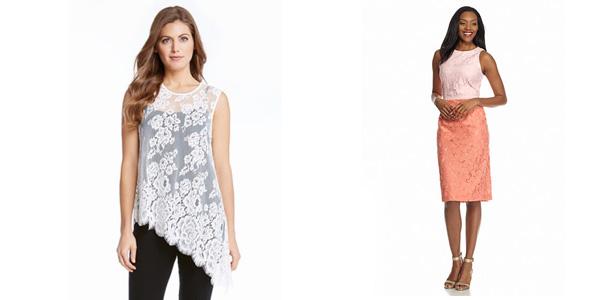 Karen Kane Lace Asymmetrical Tank and Maggy London Novelty Colorblock Midi Sheath Dress
