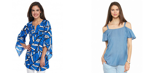 SOUTHERN fROCK Addison Bell Sleeve Tunic and crown & ivy™ Chambray Cold Shoulder Top