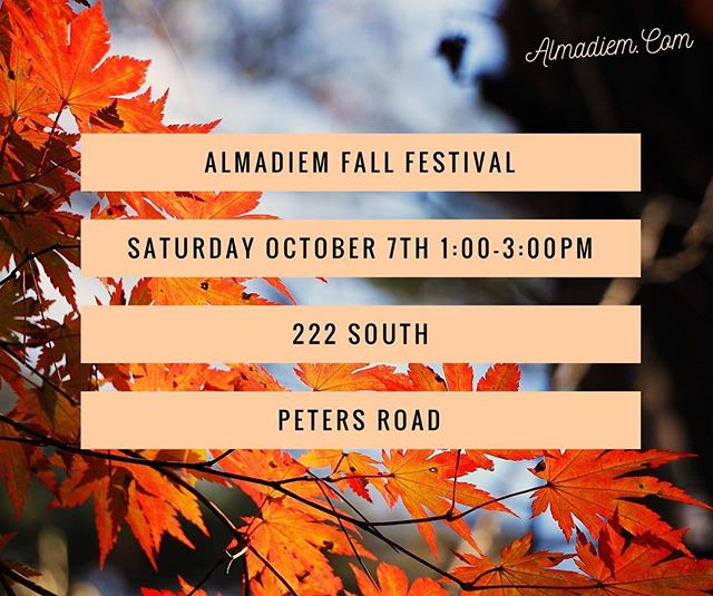 We are going to be giving away thousands of dollars of prizes and give-ways at our AlmaDiem Fall Festival! If you've ever been curious about our Business Community this is the perfect time to come visit. (Of course, its UT's off weekend😉🏈🍊) See you there!🍏🍁🍂🎃🍂🍁🍏
