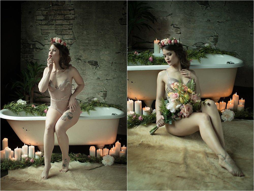 Vintage floral bathtub boudoir