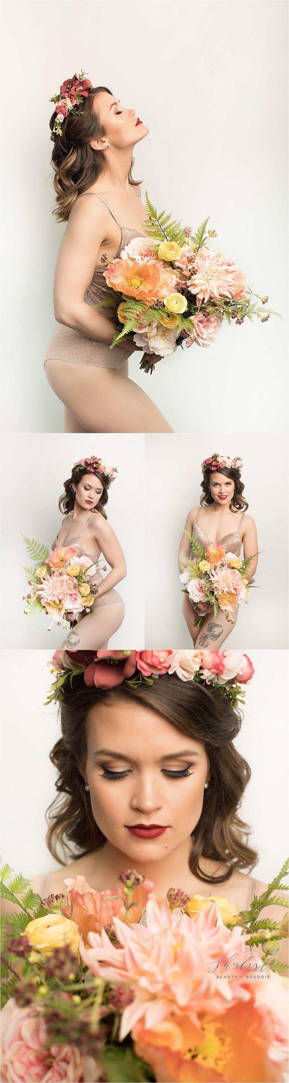 Floral vintage boudoir session