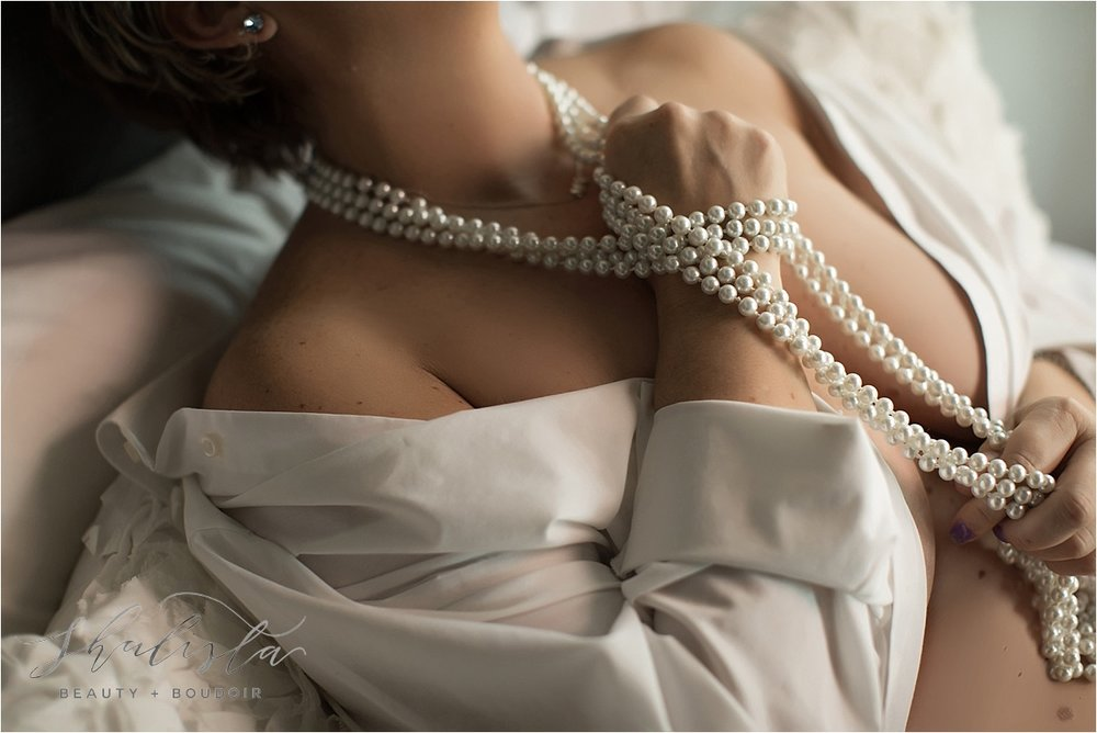 Boudoir with pearls and white shirt - Shalista Photography