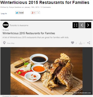 Winterlicious 2015 Restaurants for Families