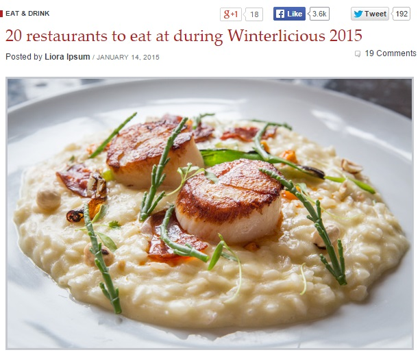 20 restaurants to eat at during Winterlicious 2015